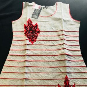 Grey red gorgeous dress ( size 4- might fit 6 )